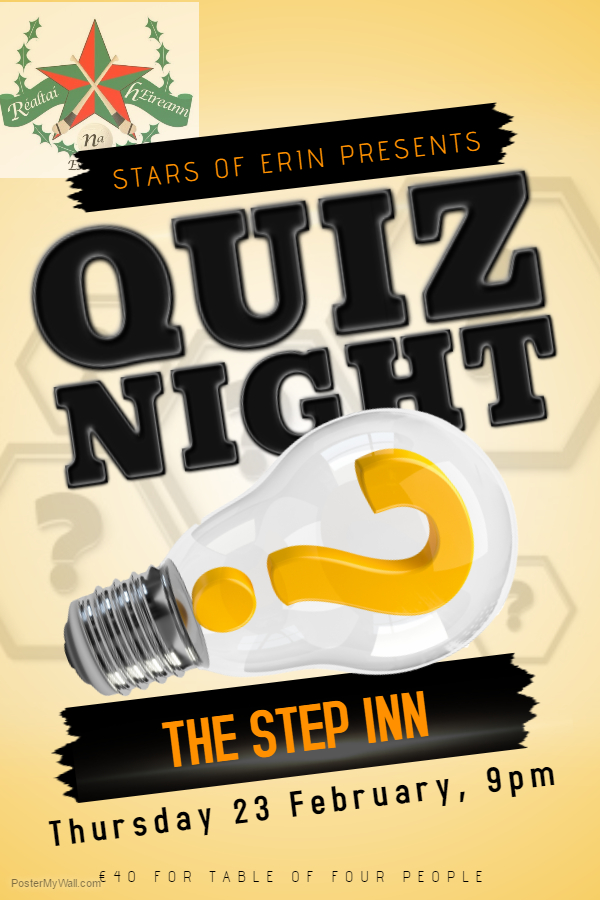 Upcoming Events Table Quiz in The Step Inn Stars of Erin GAA – Quiz Night Poster Template Free